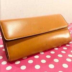LODIS Classic Tan Bovine Leather Clutch Wallet